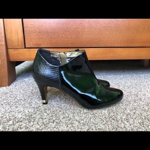 Ted Baker Patent Leather Snakeskin Booties